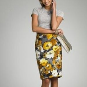 J.CREW COLLECTION GOLDEN ROSES PENCIL SKIRT